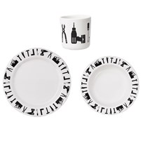 Design Letters Tool School Melamine Set White White