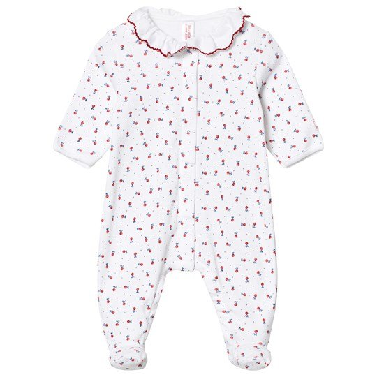 Petit Bateau White Floral Jersey Babygrow with Ruffle Collar 13