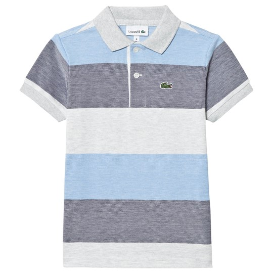 Lacoste Blue and Grey Pique Polo FA1