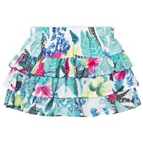 Catimini Multi Mint Jungle Floral Print Ruffle Skirt 50