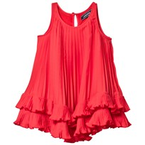 Lands End Red Pleated Trapeze Dress CRIMSON DAWN