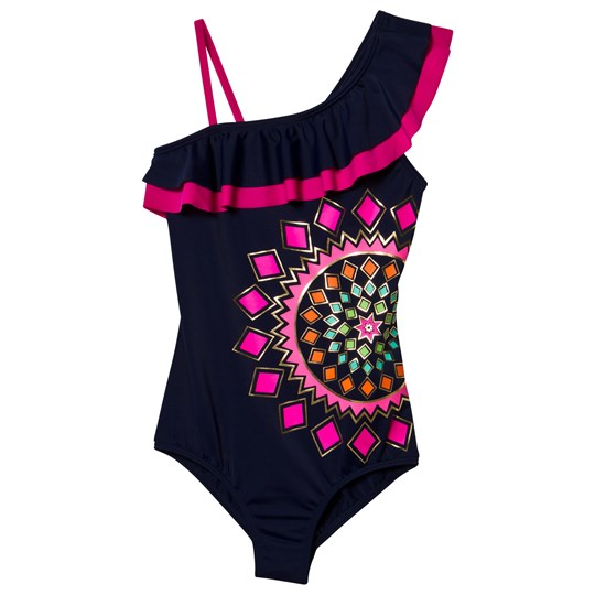 Lands' End Navy Lush Tropics Ruffle Swimsuit KALEIDOSCOPE
