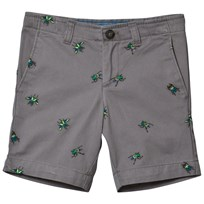 Lands End Boy Grey Cadet Shorts SILVER GRAPHITE BUG EMBROIDERY