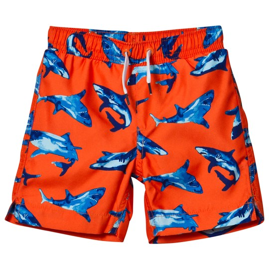 Lands' End Orange Printed Swim Trunks VIVED ORANGE SHARKS