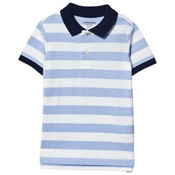 Lands' End White Oxford Stripe Mesh Polo