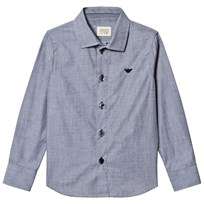 Armani Junior Blue Chambray Branded Shirt 2542