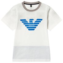 Armani Junior White Logo Tee with Contrast Neckline 1100
