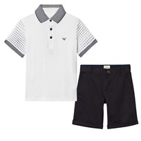 Armani Junior Set of White Pique Polo and Navy Chino Shorts 1100