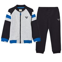 Armani Junior Navy, Grey and White Branded Tracksuit Set 15K5