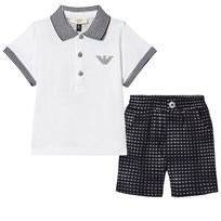 Armani Junior Two Piece White Pique Polo and Branded Short Set 2503