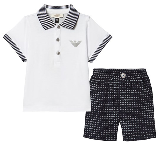 Emporio Armani Two Piece White Pique Polo and Branded Short Set 2503