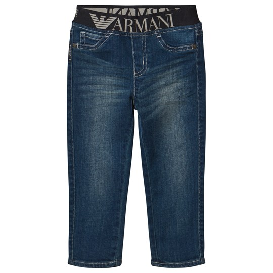 Emporio Armani Blue Mid Wash Branded Waistband Jeans 15K5