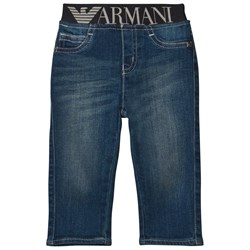 Emporio Armani Blue Mid Wash Branded Waistband Jeans