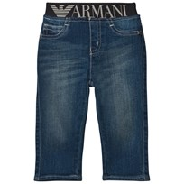 Armani Junior Blue Mid Wash Branded Waistband Jeans 1500