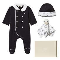 Armani Junior Footed Baby Body, Hat And Comforter Three-Piece Set 15K5