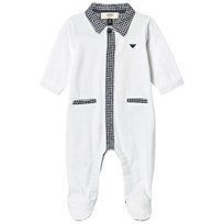 Armani Junior White Footed Baby Body With Navy Check Details White