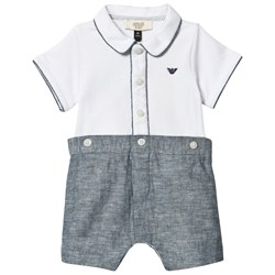 Emporio Armani White and Chambray Branded Romper
