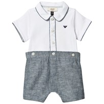 Armani Junior White and Chambray Branded Romper White