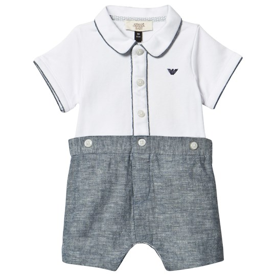 Emporio Armani White and Chambray Branded Romper White