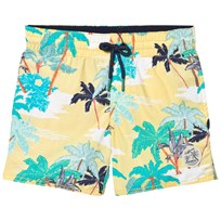 Oneill Yellow Thirst To Surf Swim Palm Print Shorts YELLOW AOP