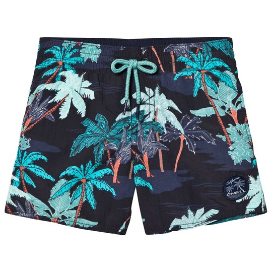 Oneill Black Thirst To Surf Palm Print Swim Shorts Black Aop
