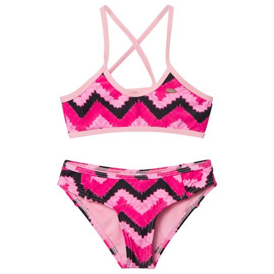 Oneill Pink Active Top Bikini WHITE AOP W/PINK OR PURPLE