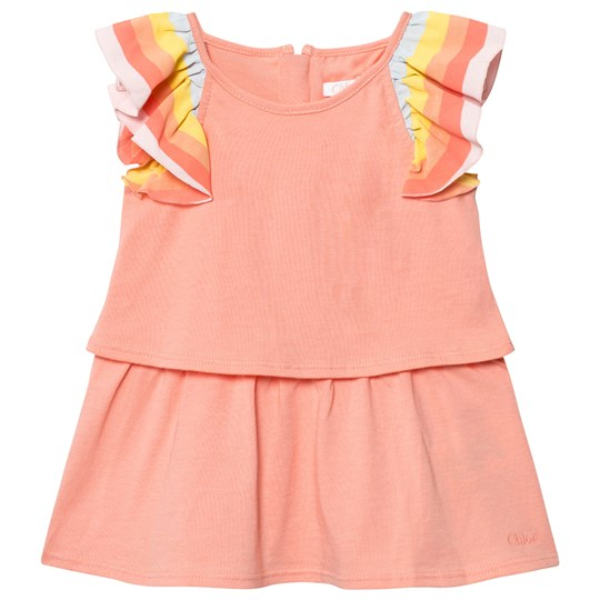 Chloé Pink Dress with Rainsbow Frill Sleeves 424