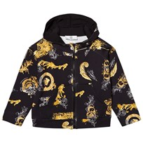 Young Versace Black Gold Baroque Print Hoodie 2800
