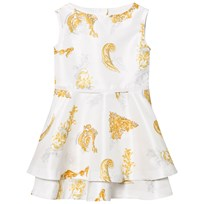 Young Versace White Gold Baroque Print Dress 2548
