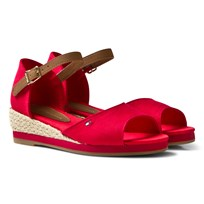 Tommy Hilfiger Red Branded Canvas Wedge Sandals Red