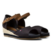 Tommy Hilfiger Navy Branded Canvas Wedge Sandals Midnight