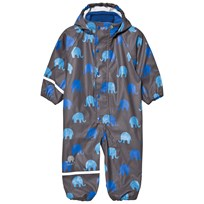 Celavi Printed Rain Suit Grey Sort