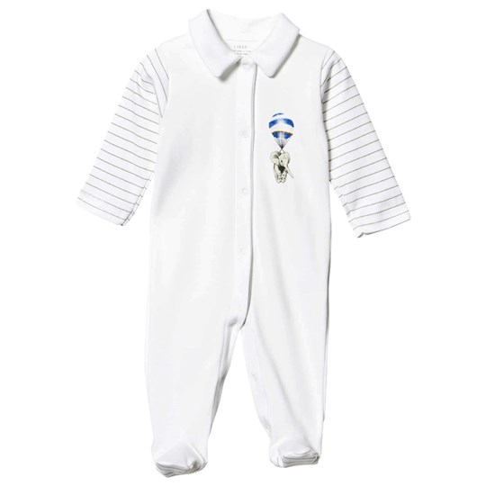 Livly Collar Footed Baby Body White Blue Elephant White Blue Elephant Placement
