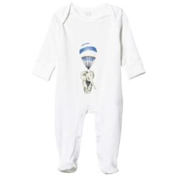 Livly Footed Baby Body White Blue Elephant