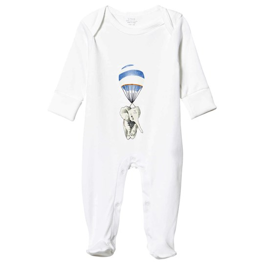 Livly Footed Baby Body White Blue Elephant White Blue Elephant Placement