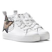 Diesel White Wedged Star Hi Top Trainers T1003