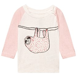 Noe & Zoe Berlin Pink and Ecru Hanging Sloth Print Raglan Tee