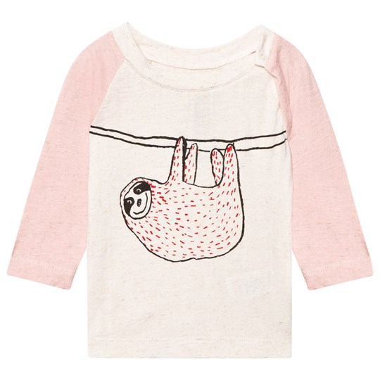 Noe & Zoe Berlin Pink and Ecru Hanging Sloth Print Raglan Tee HANGING SLOTH