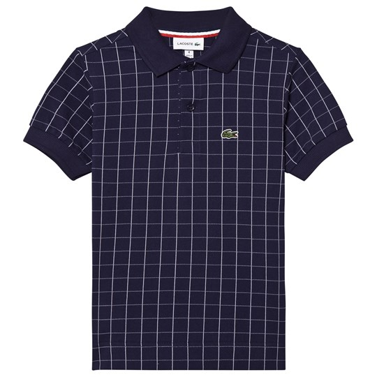 Lacoste Navy Grid Pattern Polo E87