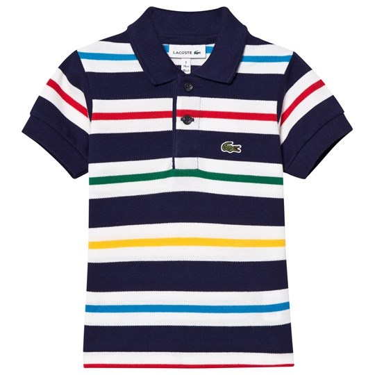 Lacoste Navy, White and Red Stripe Pique Polo M3E