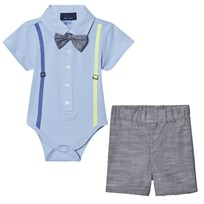 Andy & Evan Blue Polo Shirtzie, Bow Tie and Shorts Set Blue