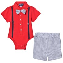 Andy & Evan Red Polo Shirtzie, Bow Tie and Shorts Set Rød