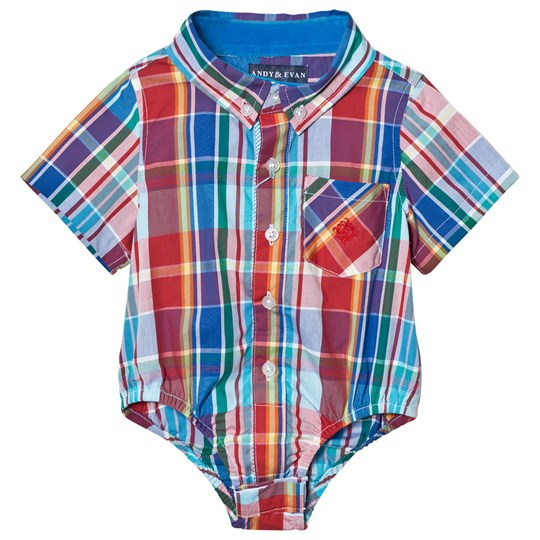 Andy & Evan Red and Blue Madras Button Down Shirtzie Red