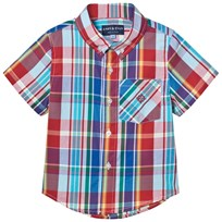 Andy & Evan Red and Blue Madras Button Down Shirt Red