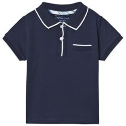 Andy & Evan Navy Polo with White Ribbing