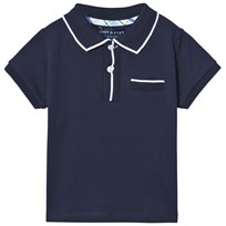 Andy & Evan Navy Polo with White Ribbing Navy