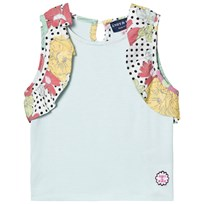 Andy & Evan Aqua Vest with Multi Ruffle Sleeves Blue