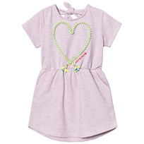 Andy & Evan Pink Knit Dress With Applique Knot Heart Blue