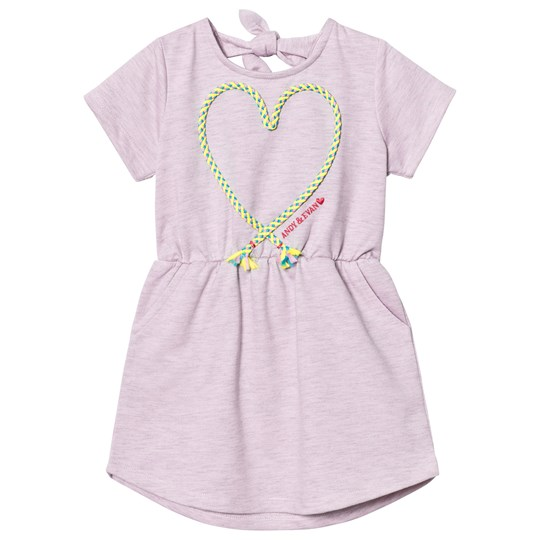 Andy & Evan Pink Knit Dress With Applique Knot Heart Pink