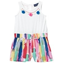 Andy & Evan White and Multi Paint Stroke Playsuit Multi